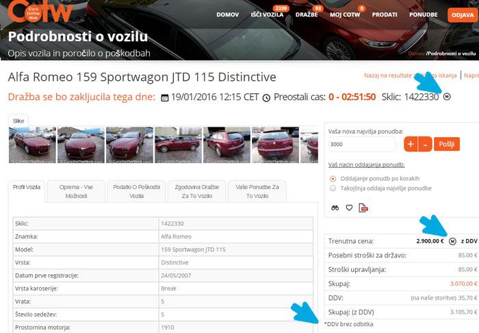 vozila z vključenim DDV-jem